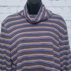 Madewell hi low side slit striped cowlneck